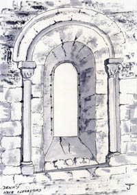 Denny : Nave clerestory - Drawing by John Yarnold