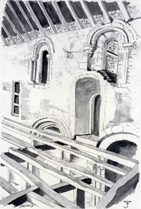 Denny Abbey - Drawing by John Yarnold