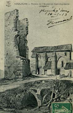 Ruines de la commanderie de Coulours en 1845