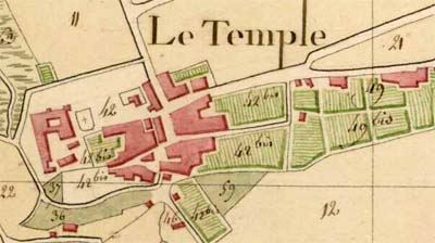 Temple de Brulhes : plan par masses de culture de 1806